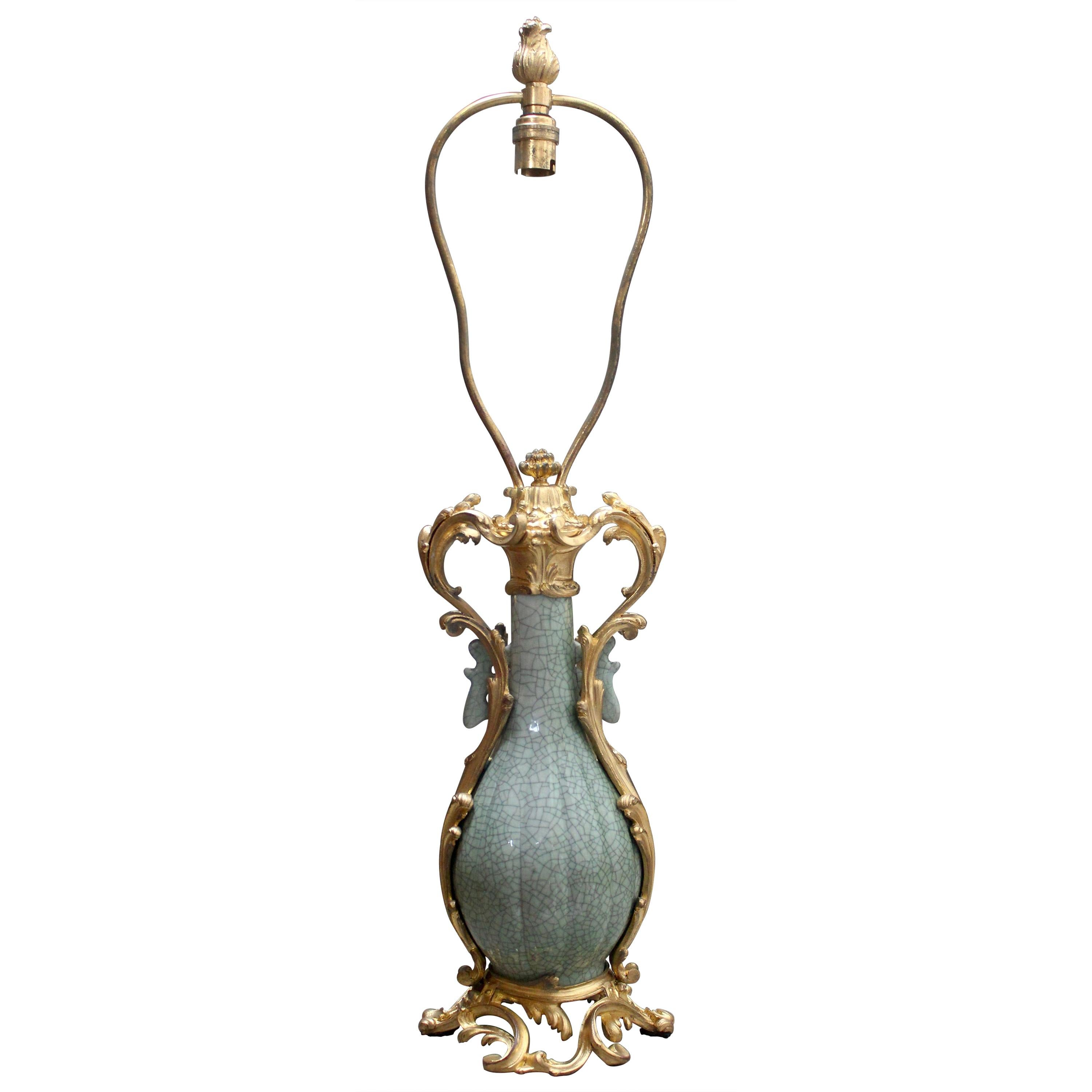 19th Century Craquelé Celadon Porcelain Vase Ormolu-Mounted in Lamp