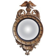 19th Century Craved Giltwood English Bull's Eye Mirror