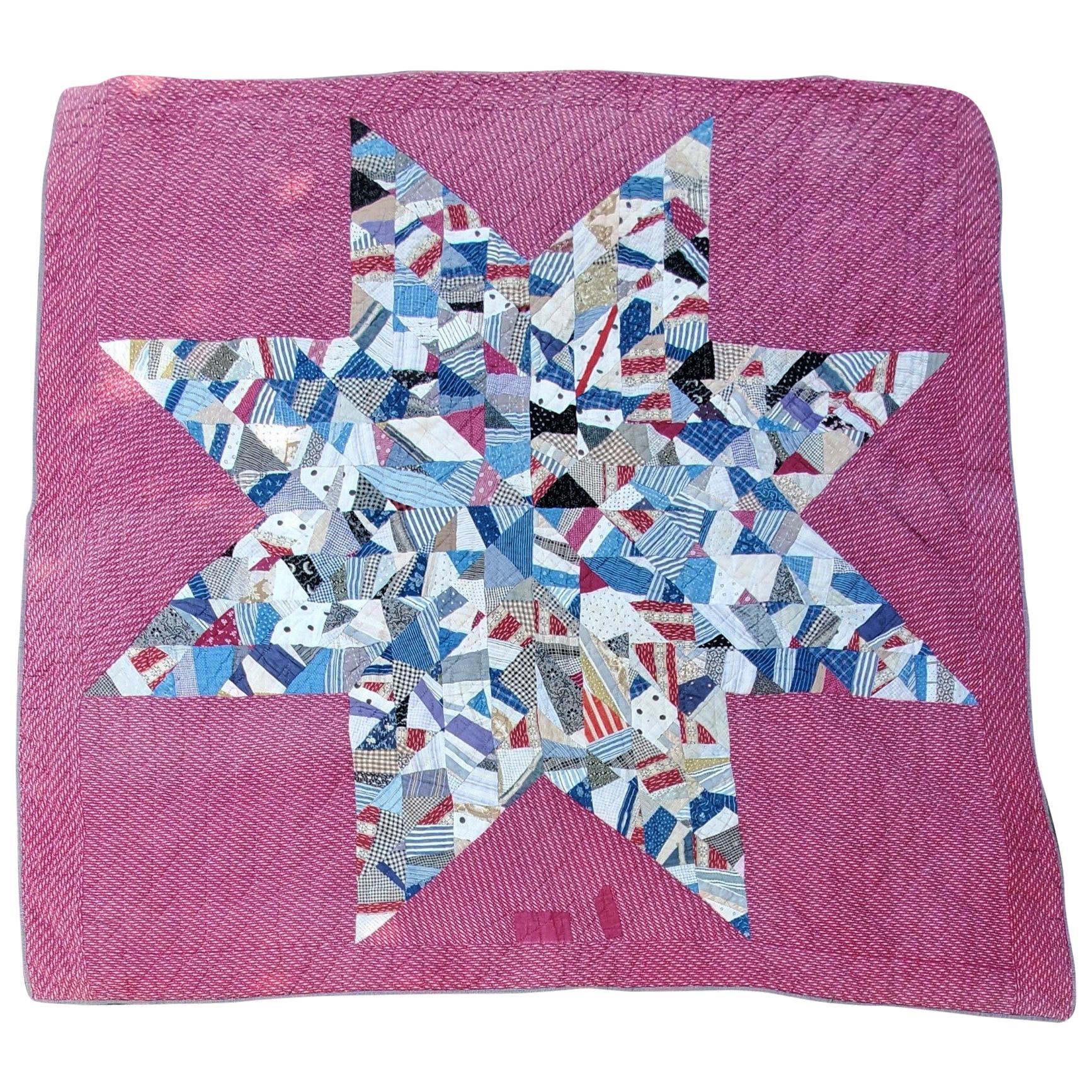 19th Century Crazy Scrap Star Quilt
