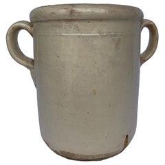 19th Century Cream Italian Confit Jar with Double Handles