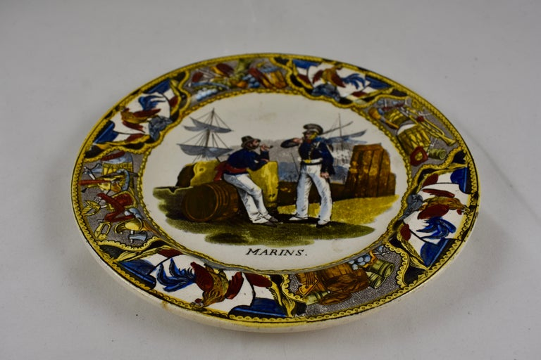 French Provincial 19th Century Creil Polychrome French Revolution Gallic Marins Sailor Plate For Sale