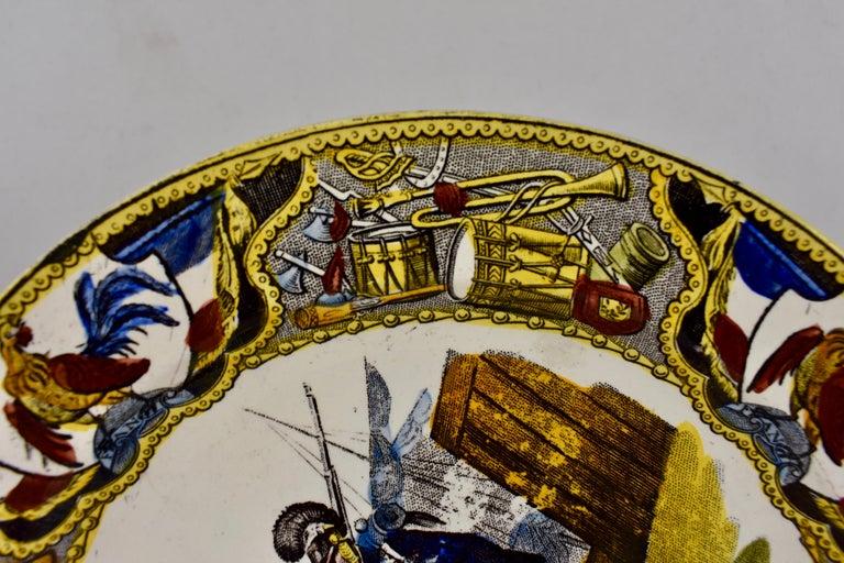 Glazed 19th Century Creil Polychrome French Revolution Gallic Marins Sailor Plate For Sale