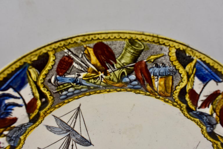 19th Century Creil Polychrome French Revolution Gallic Marins Sailor Plate In Good Condition For Sale In Philadelphia, PA