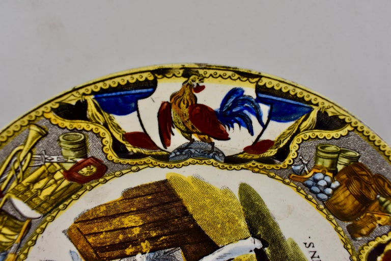 Earthenware 19th Century Creil Polychrome French Revolution Gallic Marins Sailor Plate For Sale