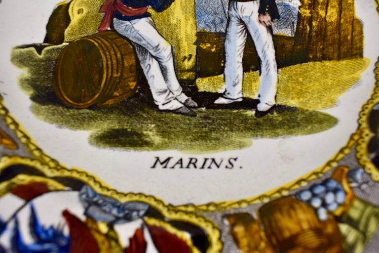 19th Century Creil Polychrome French Revolution Gallic Marins Sailor Plate For Sale 1