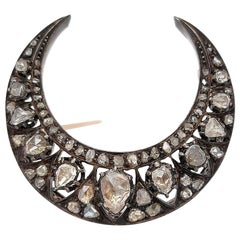 19th Century Crescent Silver and Gold Moon Brooch with Rose Cut Diamonds