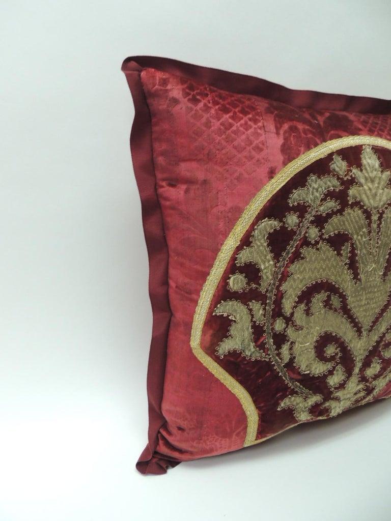 Moorish Antique Crimson Red and Gold Crest Applique Decorative Pillow For Sale