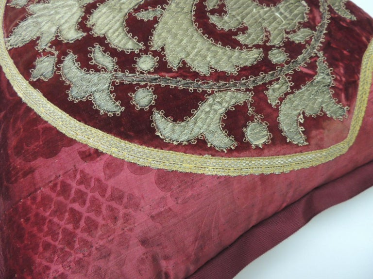 Persian Antique Crimson Red and Gold Crest Applique Decorative Pillow For Sale