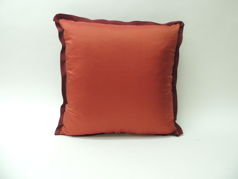 Hand-Crafted Antique Crimson Red and Gold Crest Applique Decorative Pillow For Sale