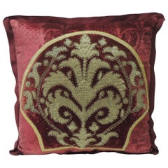 19th Century Crimson Red and Gold Crest Applique Velvet Decorative Pillow