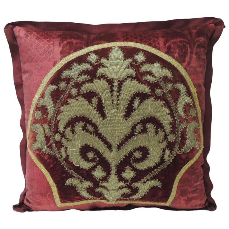 Antique Crimson Red and Gold Crest Applique Decorative Pillow For Sale