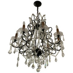 19th Century Crystal & Bronze Chandelier from France