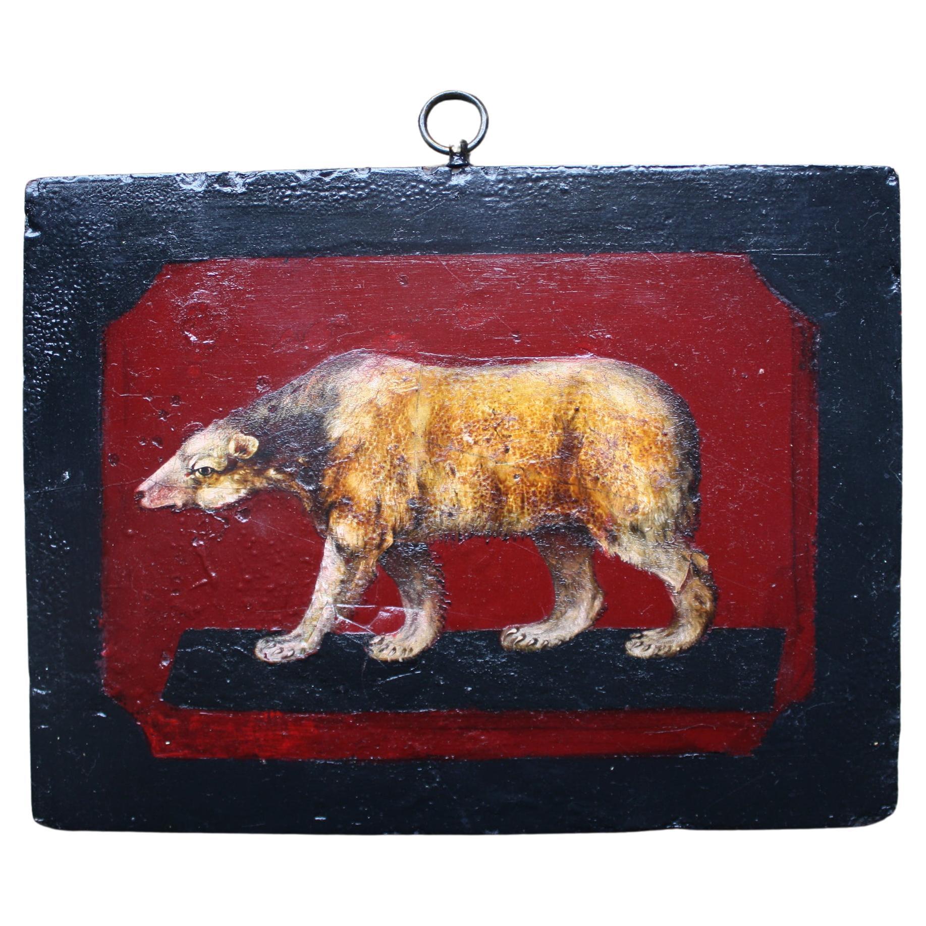 19th Century Curios Bear, Oil on Board Folk Art Painting
