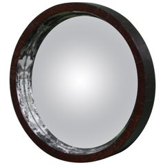 19th Century Curious Convex Circular Mirror, with a Concave Lens Mahogany Frame