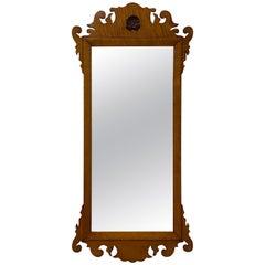 19th Century Curly Maple Framed Mirror, circa 1890