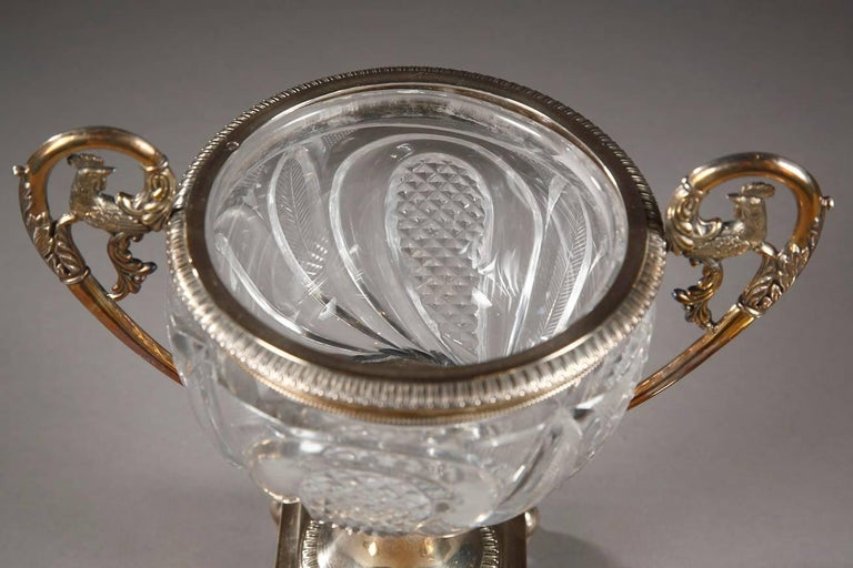 Restauration 19th Century Cut Crystal and Silver Candy Dish, Signed Dupré For Sale