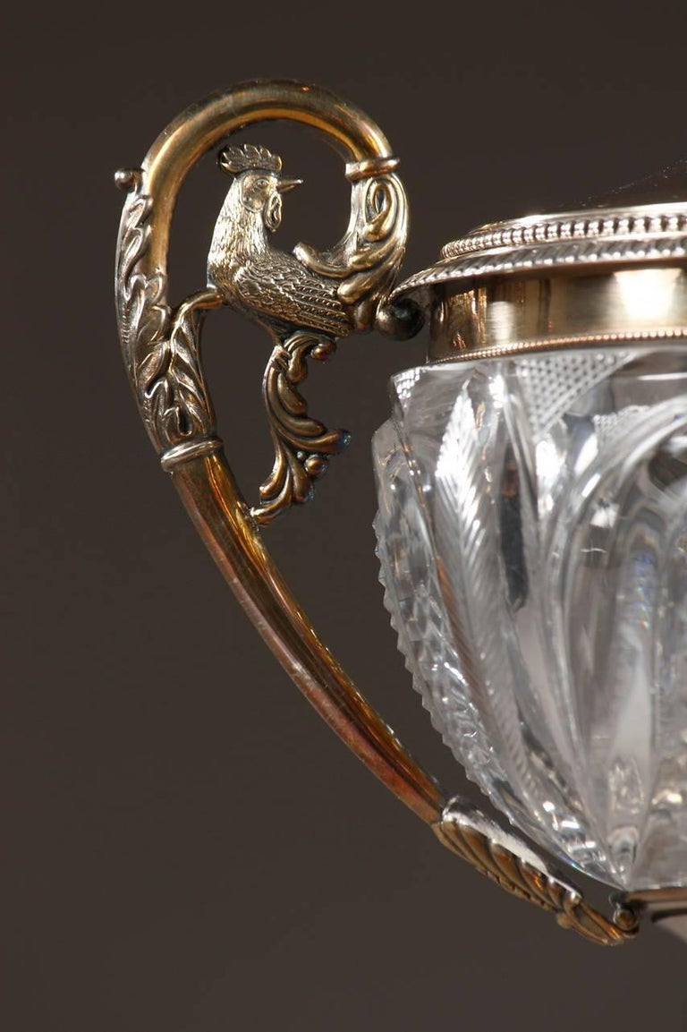 19th Century Cut Crystal and Silver Candy Dish, Signed Dupré In Good Condition For Sale In Paris, FR