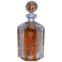 19th Century Cut Glass Bourbon Bottle with Lid