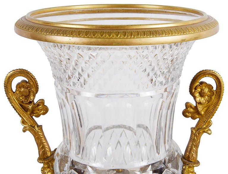 Grand Tour 19th Century Cut Glass, Ormolu Mounted Urn For Sale