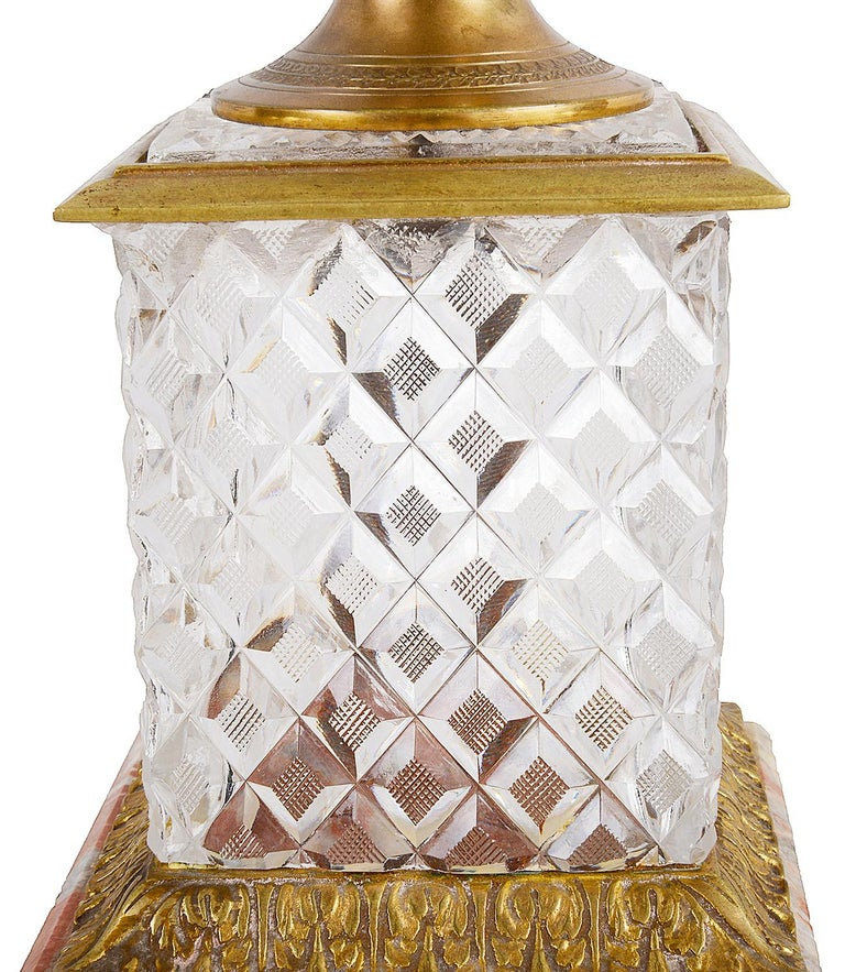 French 19th Century Cut Glass, Ormolu Mounted Urn For Sale