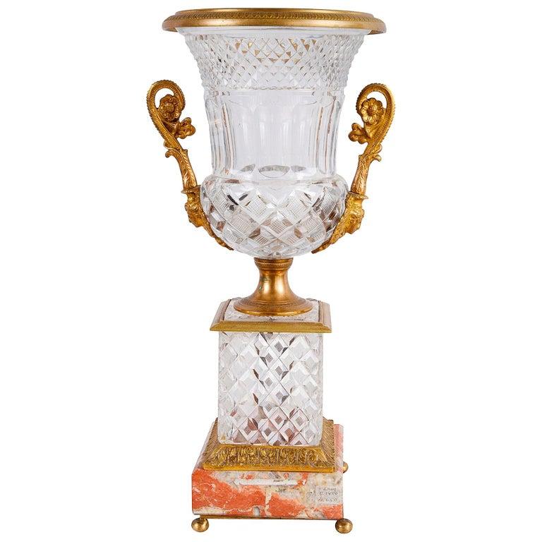 19th Century Cut Glass, Ormolu Mounted Urn For Sale