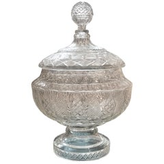 19th Century Cut Glass Punch Bowl with Lid