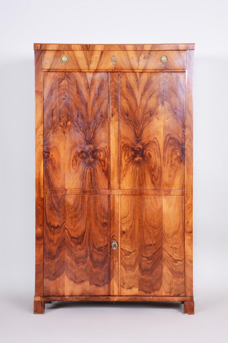 Completely restored Czech one door Biedermeier wardrobe cabinet.