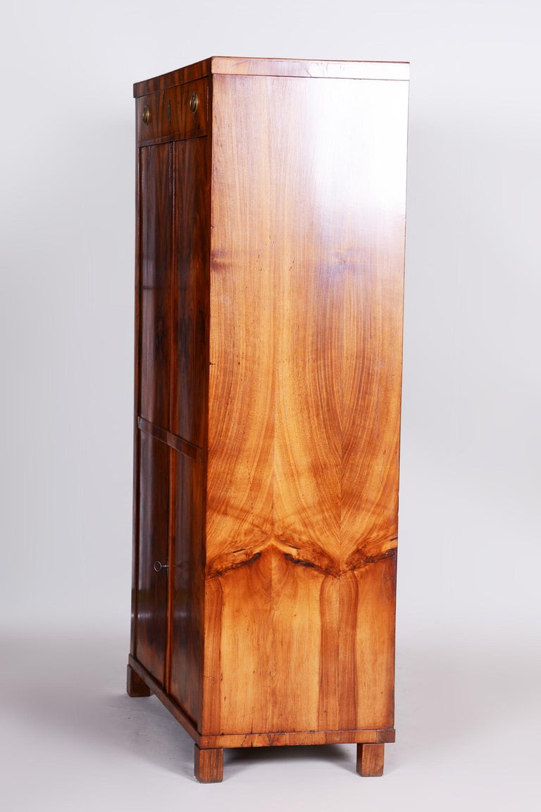 19th Century Czech One Door Biedermeier Walnut Wardrobe Cabinet, Restored, 1830s For Sale 4