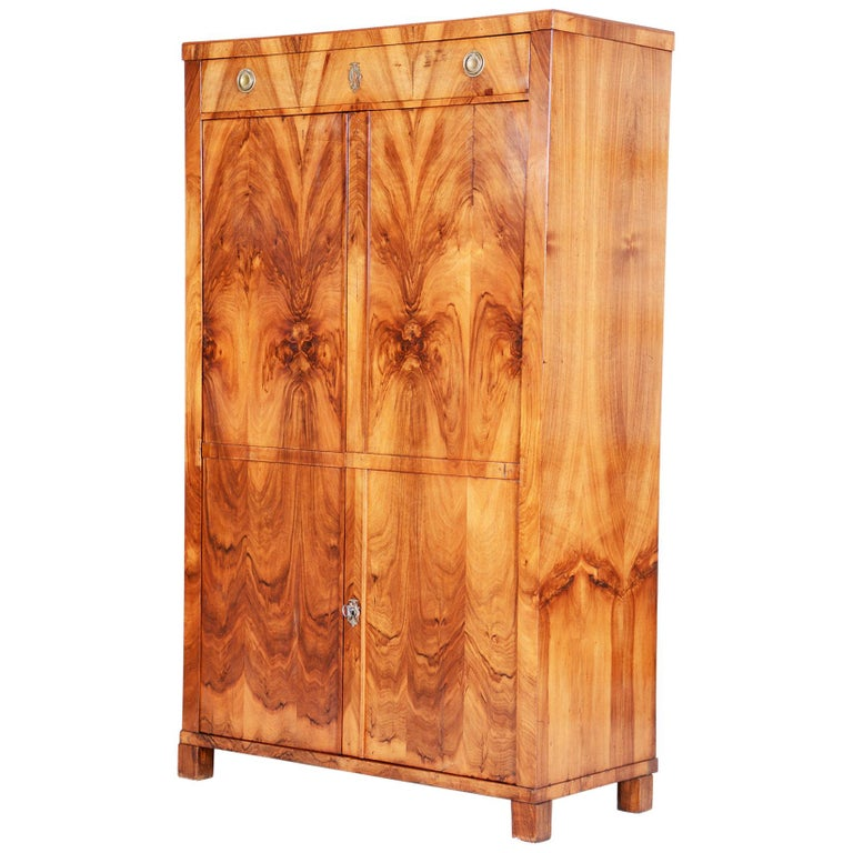 19th Century Czech One Door Biedermeier Walnut Wardrobe Cabinet, Restored, 1830s For Sale