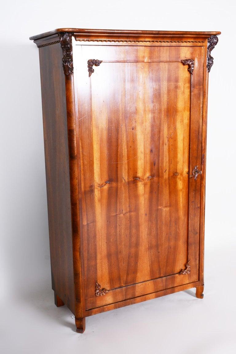 19th Century Czech One Door Biedermeier Walnut Wardrobe Cabinet, Restored, 1840s For Sale 2
