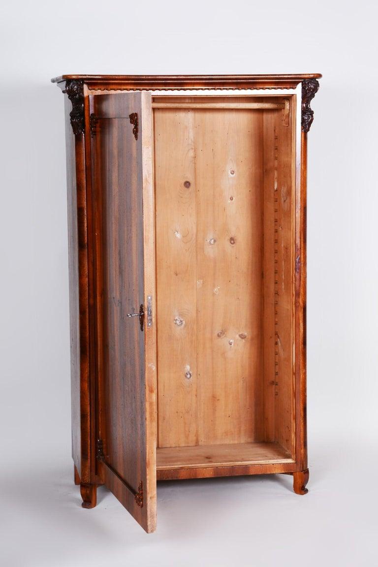 19th Century Czech One Door Biedermeier Walnut Wardrobe Cabinet, Restored, 1840s For Sale 3