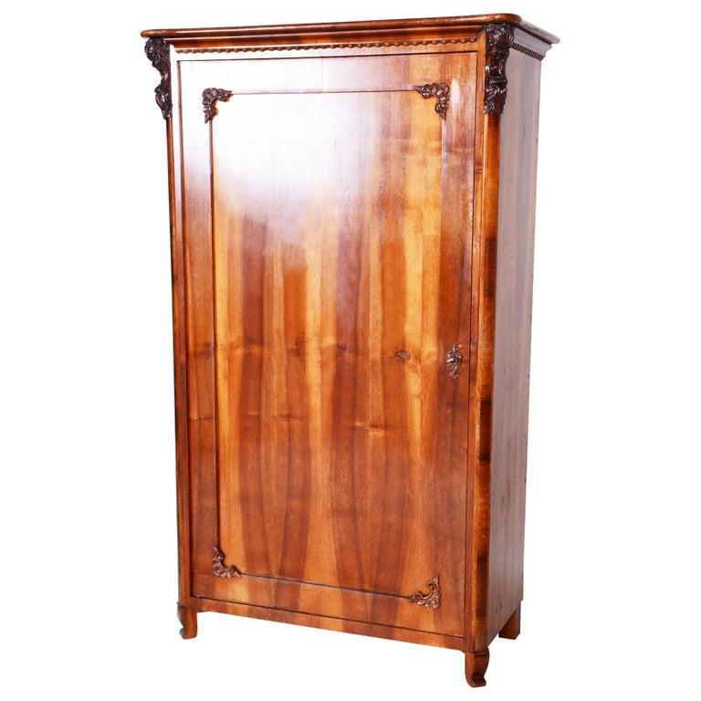 19th Century Czech One Door Biedermeier Walnut Wardrobe Cabinet, Restored, 1840s For Sale