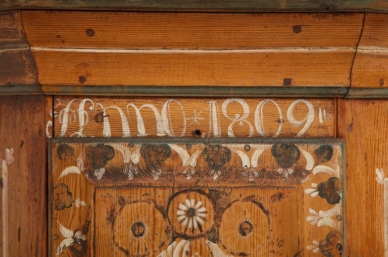 Paint 19th Century Dalarna Corner Cabinet, Sweden, Inscribed and Dated, Anno 1830 For Sale