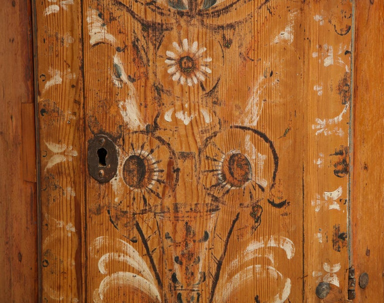 19th Century Dalarna Corner Cabinet, Sweden, Inscribed and Dated, Anno 1830 For Sale 2