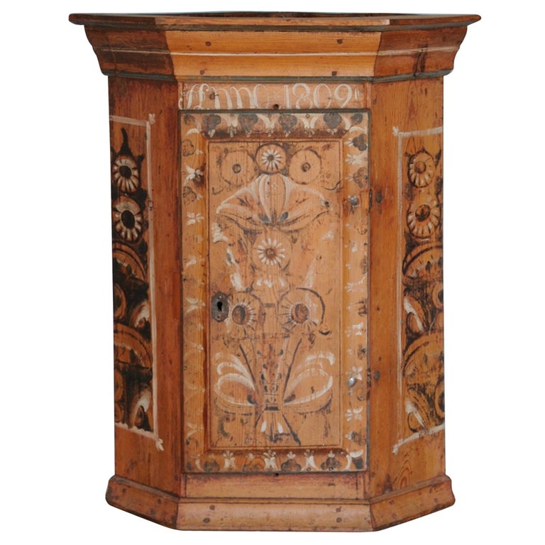 19th Century Dalarna Corner Cabinet, Sweden, Inscribed and Dated, Anno 1830 For Sale