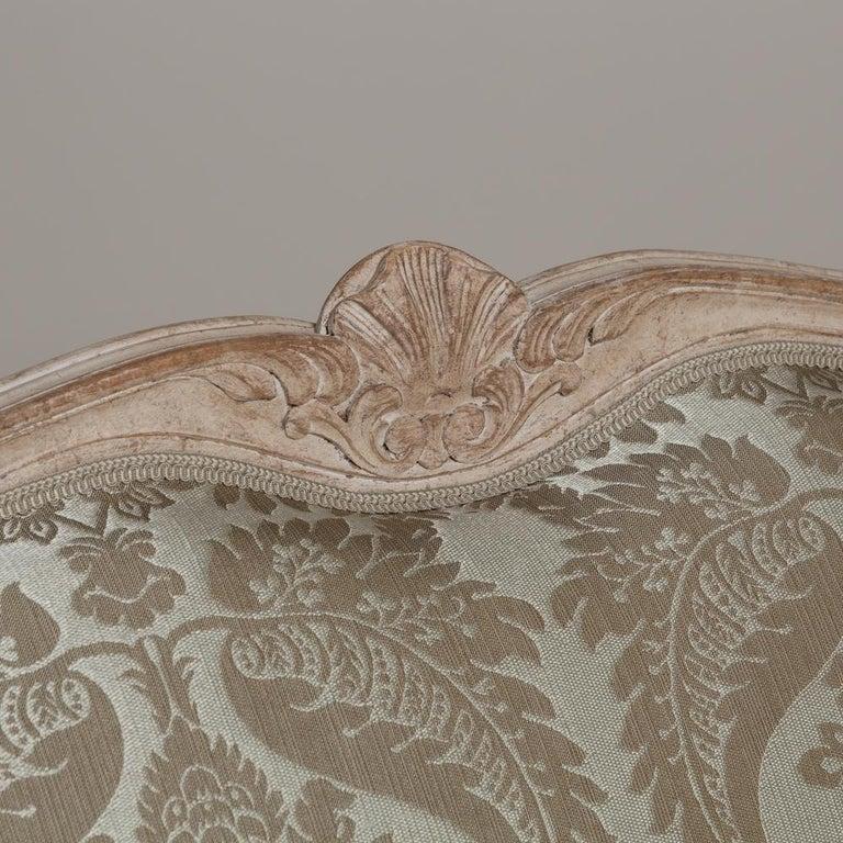 Gustavian 19th Century Damask Upholstered Swedish Sofa, circa 1880 For Sale