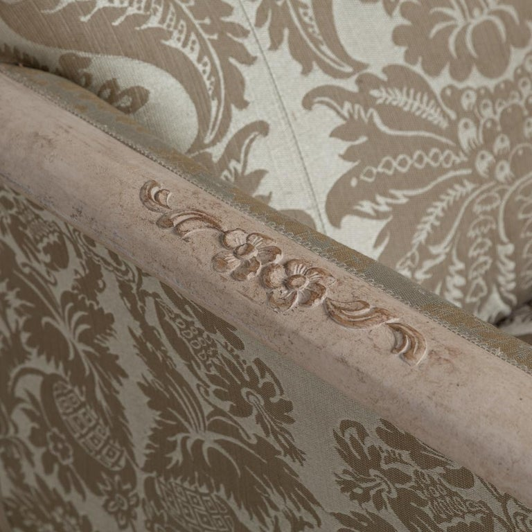 Late 19th Century 19th Century Damask Upholstered Swedish Sofa, circa 1880 For Sale