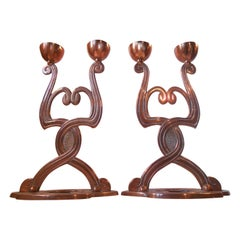19th Century Danish Jugend Copper Candelabras