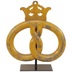 19th Century Danish Pretzel Bakery Sign On Stand