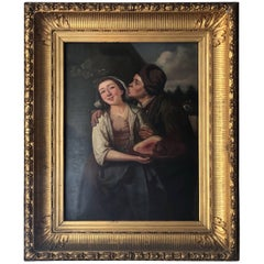 19th Century Danish 'Tender Moments' Oil Painting