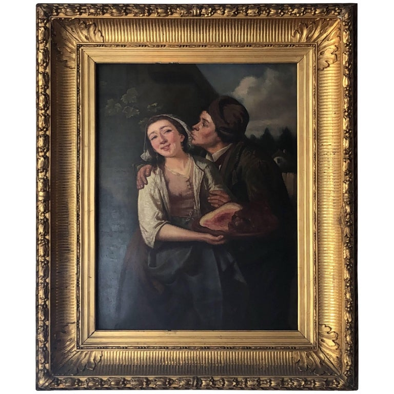 19th Century Danish 'Tender Moments' Oil Painting For Sale