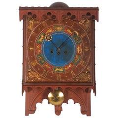 19th Century Danish Wooden Zodiac Clock in Gothic Style
