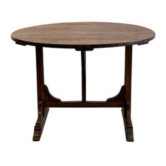 19th Century Dark-Brown French Folding Wine Table, Small Walnut Dining Table