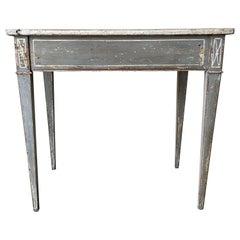 19th Century Dark-Grey Swedish Gustavian Freestanding Pinewood Console Table