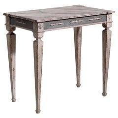 19th Century Dark-Grey Swedish Gustavian Pinewood Console Table