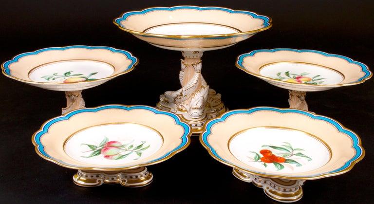 19th Century Davenport, England Hand-Painted Dessert Service For Sale 5