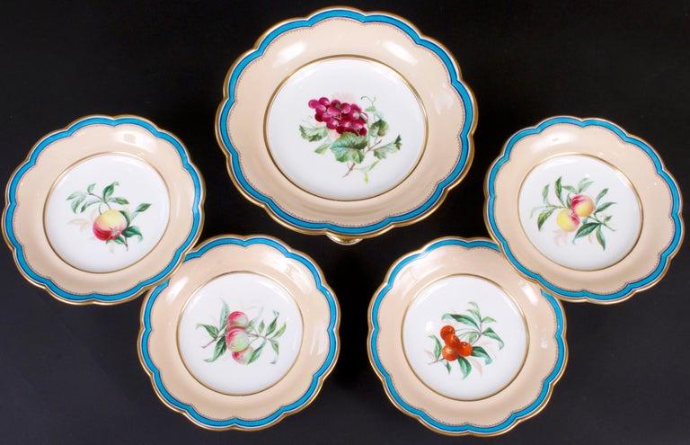 19th Century Davenport, England Hand-Painted Dessert Service For Sale 6