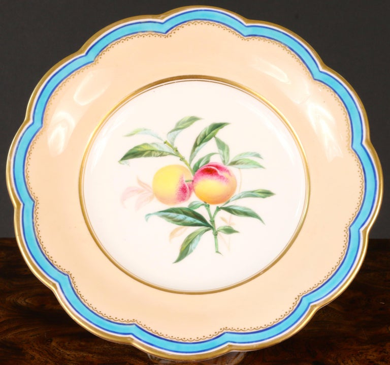 Beautiful hand-painted dessert service from the prestigious Davenport firm of Longport, Staffaordshire, England. The set consists of 5 compotes and 12 plates and features buff and turquoise color ground with lovely hand-painted fruit. Each plate or