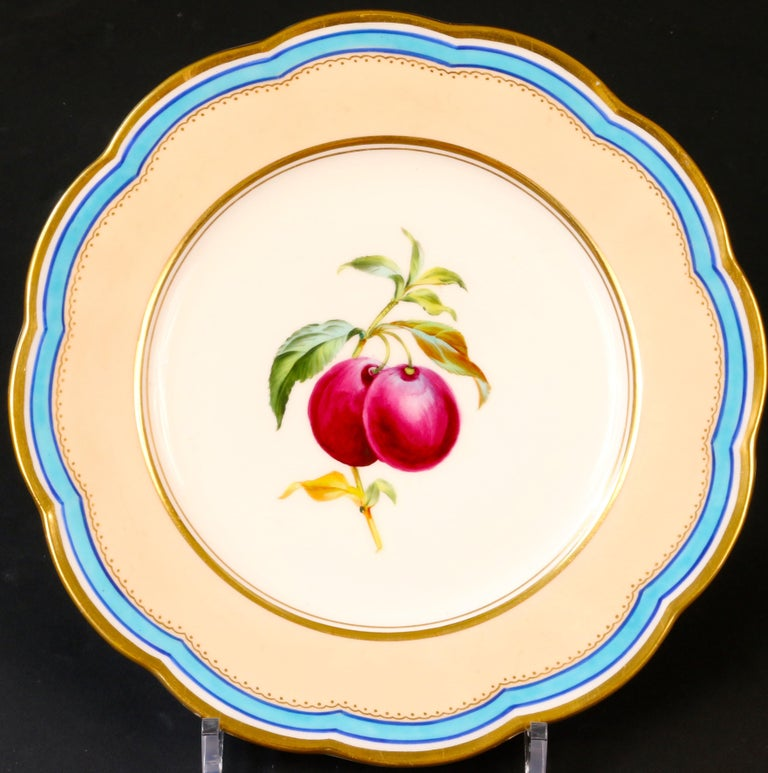 English 19th Century Davenport, England Hand-Painted Dessert Service For Sale