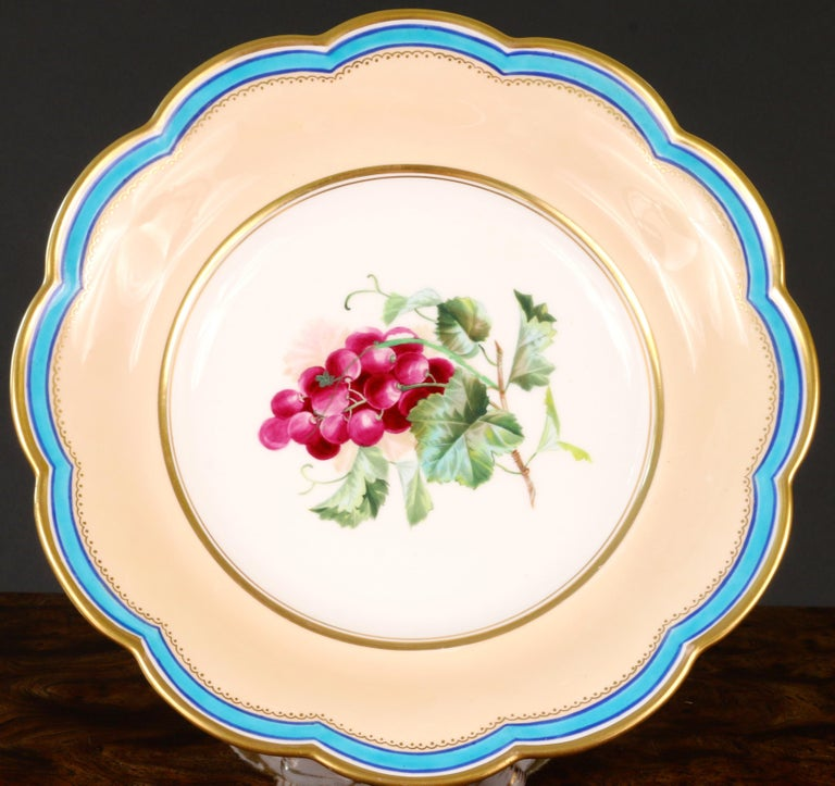 19th Century Davenport, England Hand-Painted Dessert Service In Excellent Condition For Sale In New York, NY